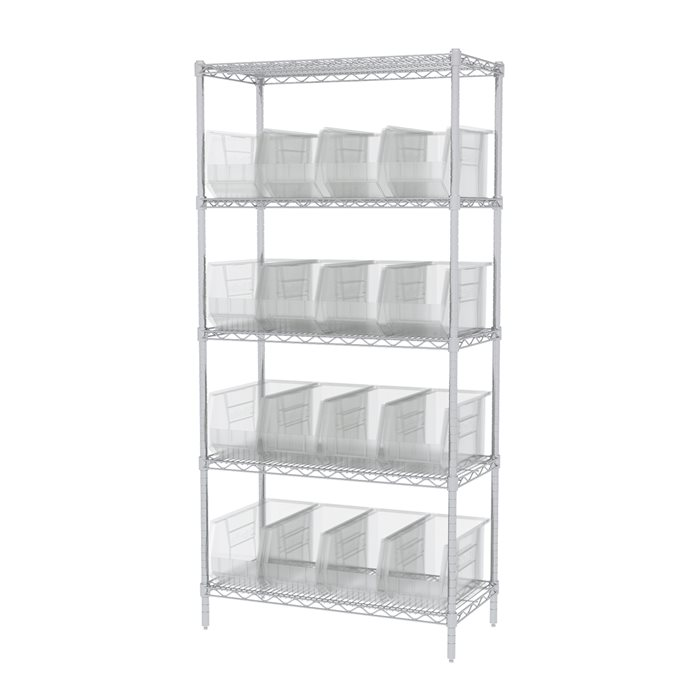 Wire Shelving, 5 Shelves w/ 18 AkroBins AWS183630265