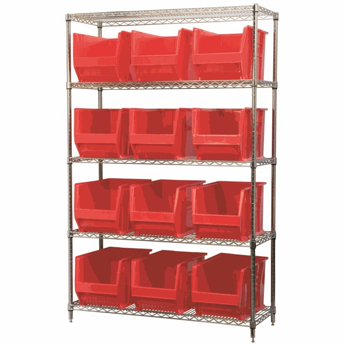 Wire Shelving, 5 Shelves w/ 12 Super-Size AkroBins AWS184830282