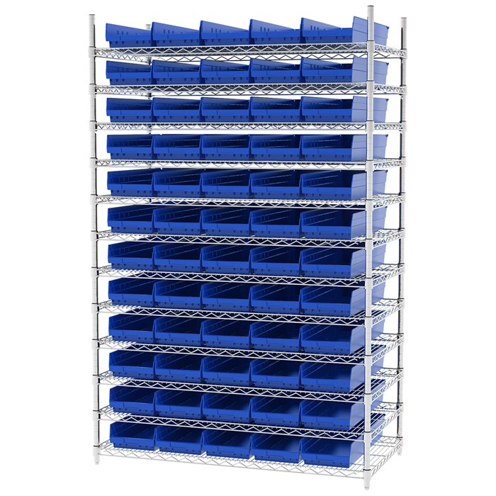 Wire Shelving, 12 Shelves w/ 60 Shelf Bins AWS244830184