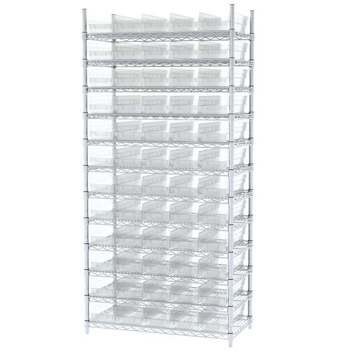 Wire Shelving, 12 Shelves w/ 60 Shelf Bins AWS183630138