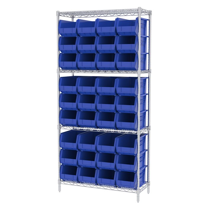 Wire Shelving, 4 Shelves w/ 36 AkroBins AWS143630240