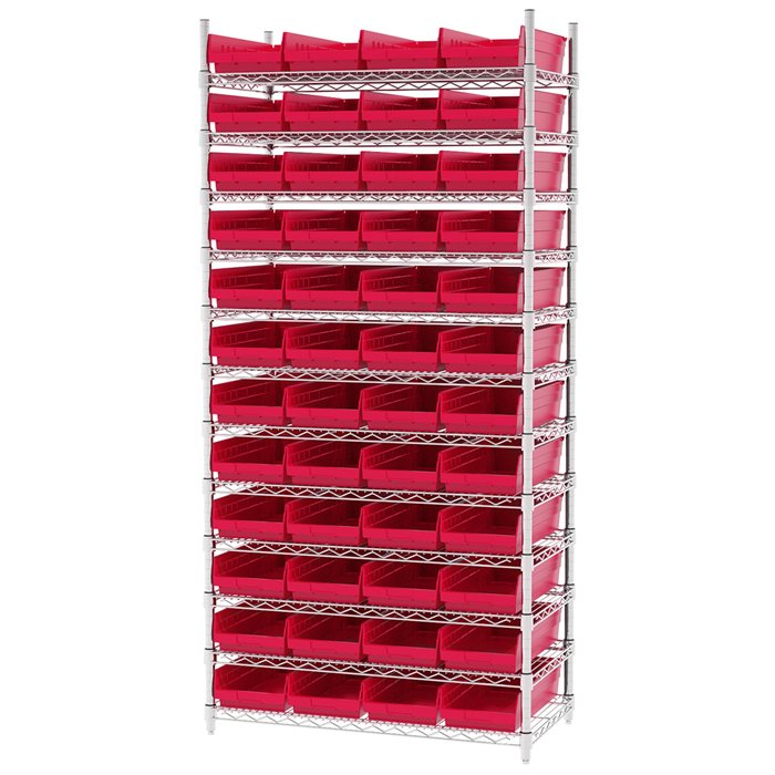 Wire Shelving, 12 Shelves w/ 48 Shelf Bins AWS183630158