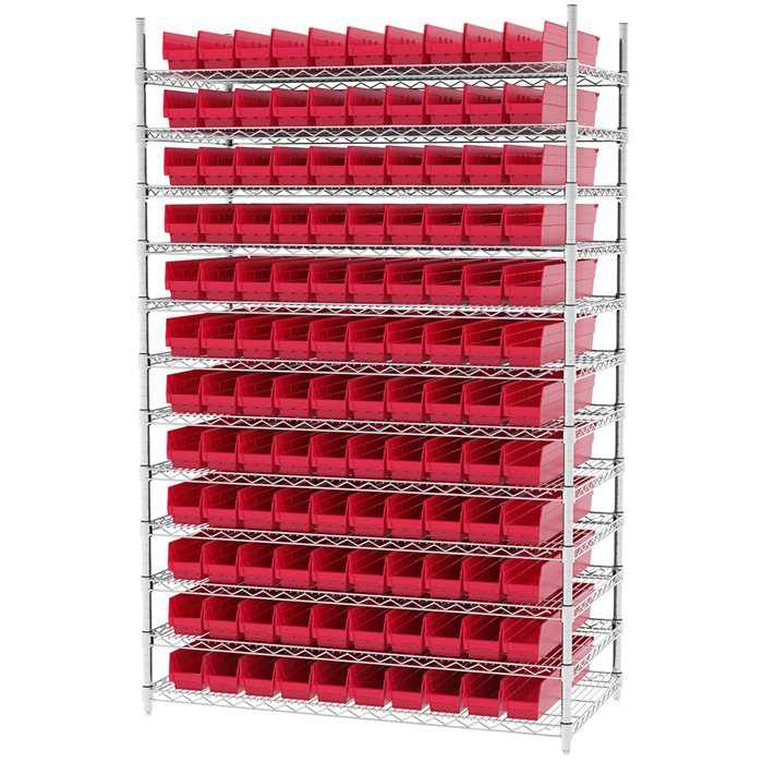 Wire Shelving, 12 Shelves w/ 120 Shelf Bins AWS244830124
