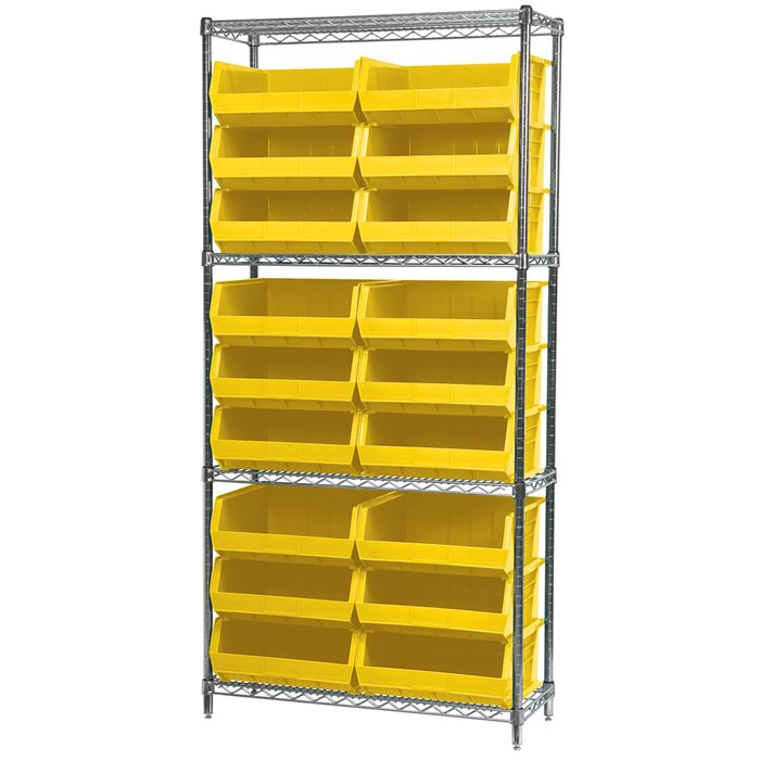 Wire Shelving, 4 Shelves w/ 18 AkroBins AWS143630250