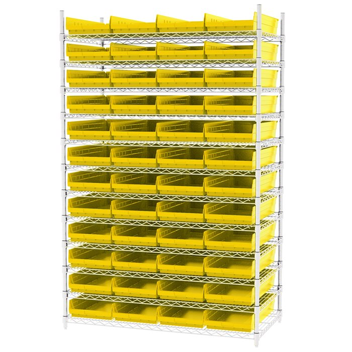 Wire Shelving, 12 Shelves w/ 48 Shelf Bins AWS244830174