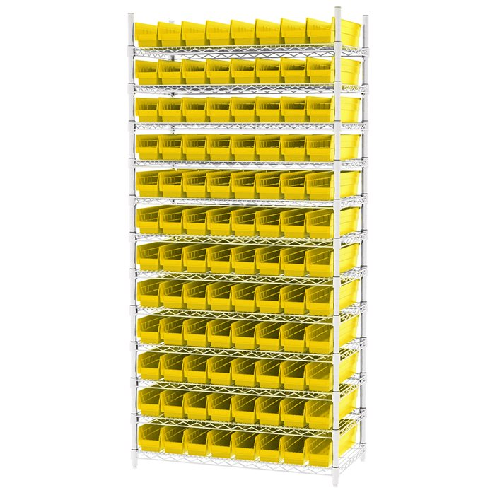 Wire Shelving, 12 Shelves w/ 96 Shelf Bins AWS183630128