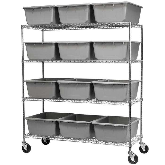 Mobile Wire Shelving, 4 Shelves w/ 12 Akro-Tubs AWS2460M34240