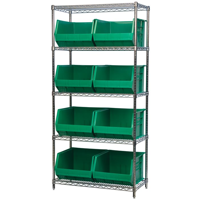 Wire Shelving, 5 Shelves w/ 9 AkroBins AWS183630270
