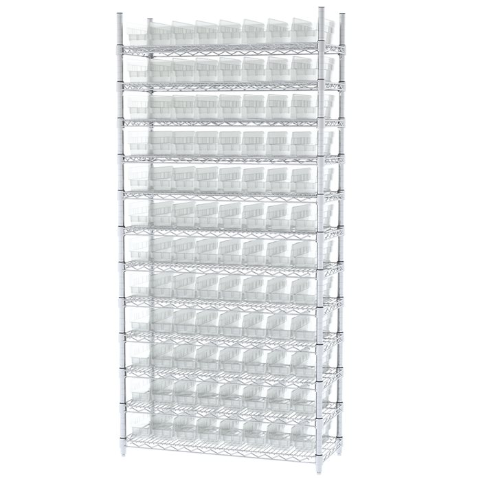 Wire Shelving, 12 Shelves w/ 96 Shelf Bins AWS143630120