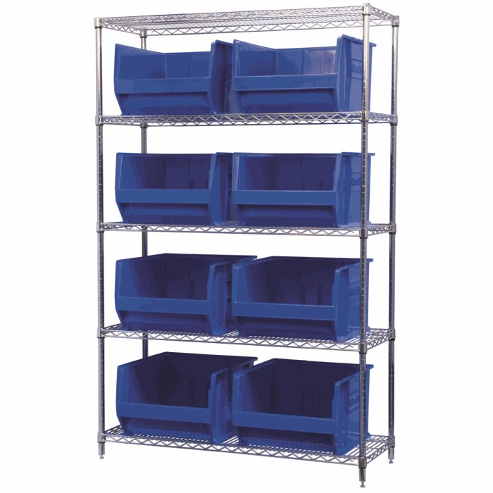 Wire Shelving, 5 Shelves w/ 8 Super-Size AkroBins AWS184830283