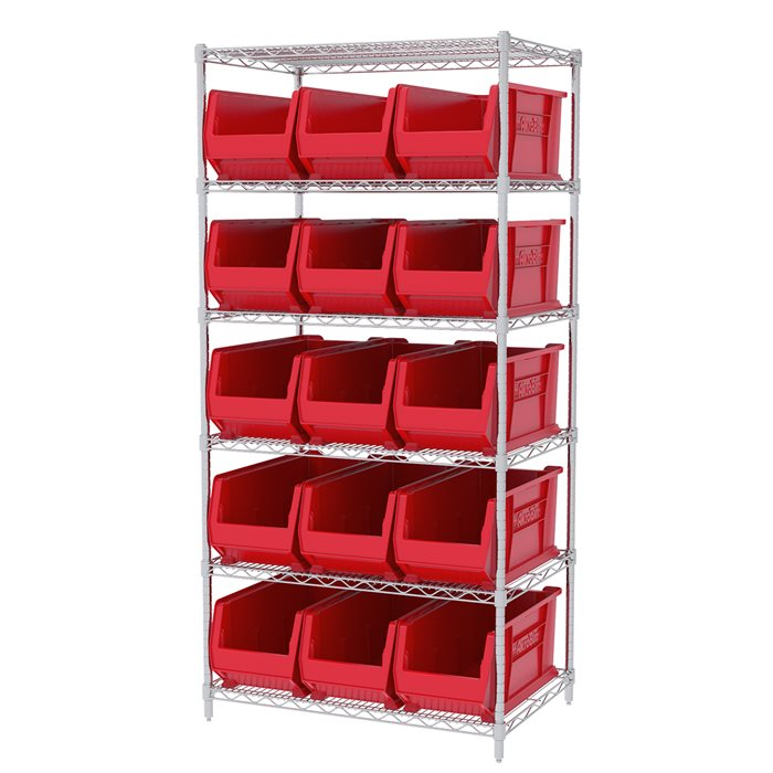Wire Shelving, 6 Shelves w/ 16 Super-Size AkroBins AWS24360287