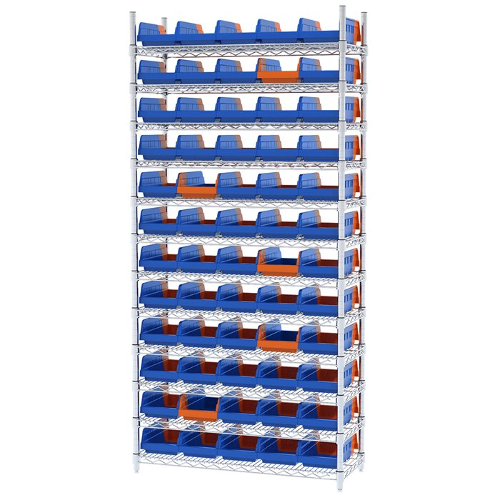 Wire Shelving, 12 Shelves w/ 60 Indicator Bins AWS143636462
