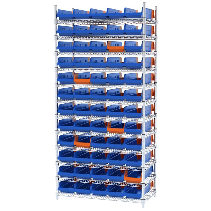 Wire Shelving, 12 Shelves w/ 60 Indicator Bins AWS183636468