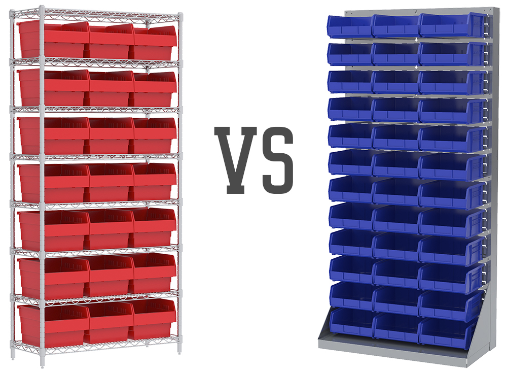 Using Wire Shelving vs Louvered Panels to Organize Storage Bins ...