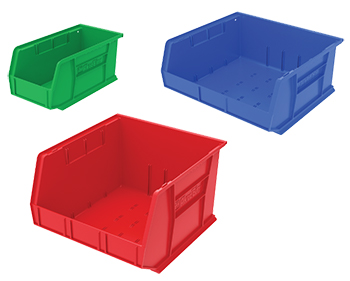 color coded small parts bins
