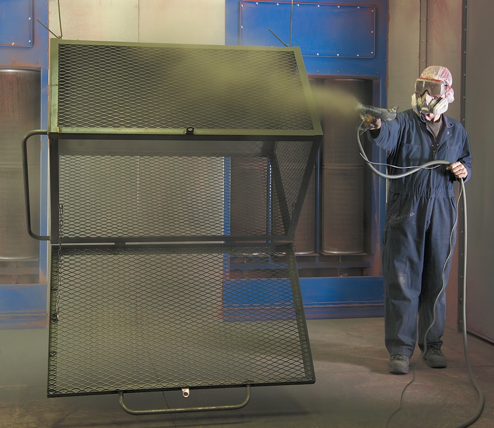 powder coating being applied to material-handling equipment
