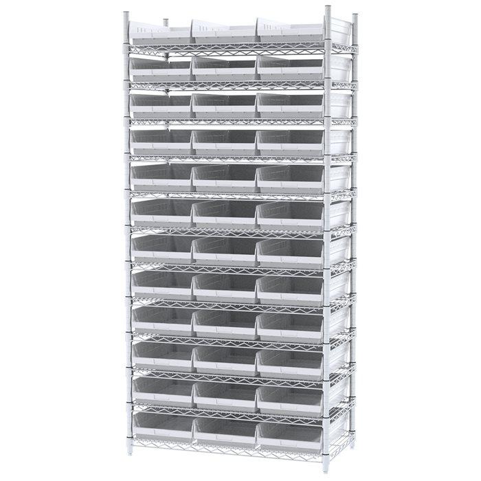 Akro-Mils Wire Shelving Unit | 12 Shelves | 36 Shelf Bins Plastic ...