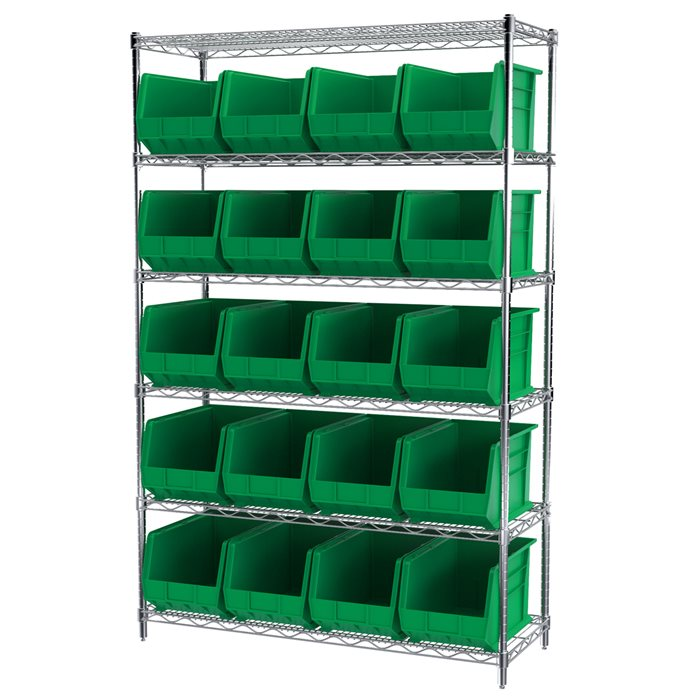 Wire Shelving, 6 Shelves w/ 24 AkroBins AWS184830260