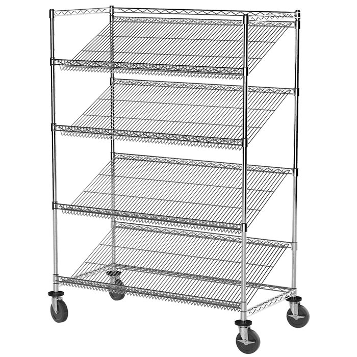 Akro-Mils Mobile Slanted Wire Shelving Starter Units | Chrome Wire ...