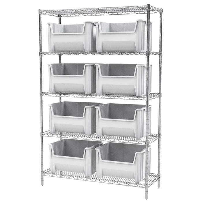 Akro-Mils Wire Shelving Unit | 5 Shelves | 9 Stak-N-Store Plastic ...