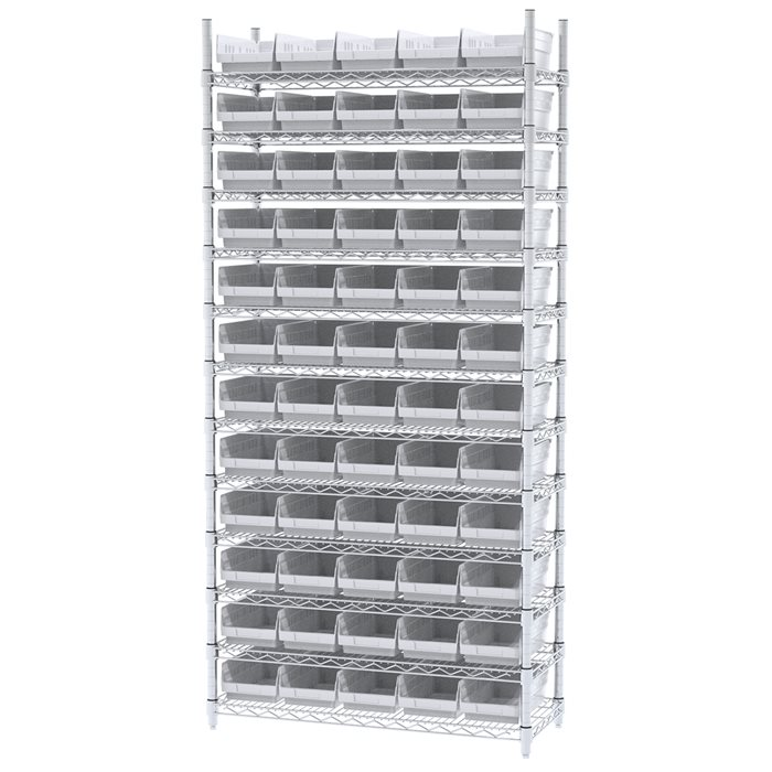 Akro-Mils Wire Shelving Unit | 12 Shelves | 60 Shelf Bins Plastic ...
