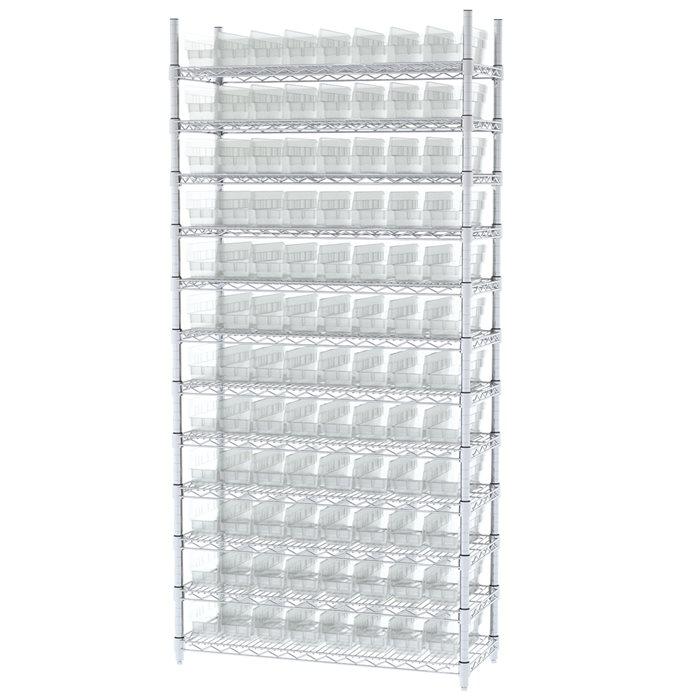 Akro-Mils Wire Shelving Unit | 12 Shelves | 96 Shelf Bins Plastic ...