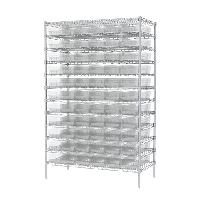 Akro-Mils Wire Shelving Unit | 12 Shelves | 66 Shelf Bins Plastic ...